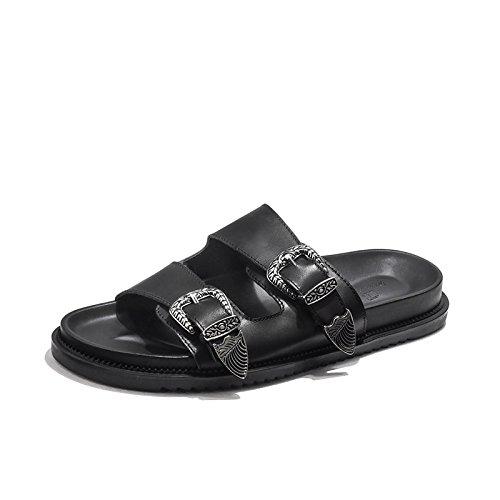 Transpirable Hombres Libre Black Versátil Sandalias Punta Moda Aire Casual Zapatillas Al Abierta qqFEpwr
