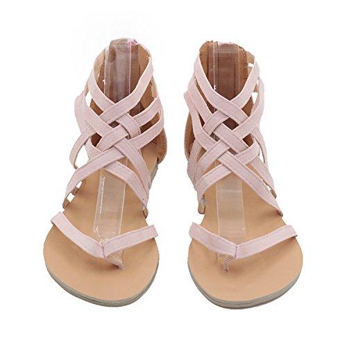 piatte da Nero dimensioni di le da EU spiaggia Dimensione fuori scava donna ZHRUI grandi Colore Rosa Sandali scarpe 42 cerniera con 6Sw74qaK