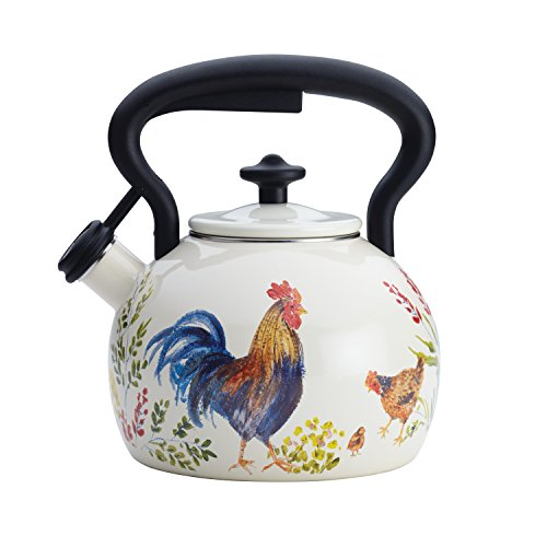 Paula Deen Signature Tea Kettles Enamel on Steel Tea Kettle, 2 quart, Garden Rooster