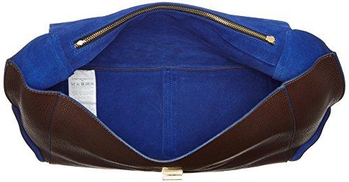Trussardi Jeans Ginger Borsa a Mano, 39 cm, Cioccolato/Blu