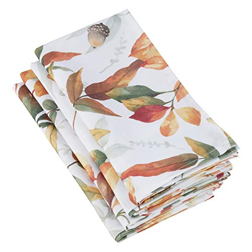 SARO LIFESTYLE 5050.M20S Feuilles Collection Fall Leaf Design Dinner Table Napkins (Set of 4), 20