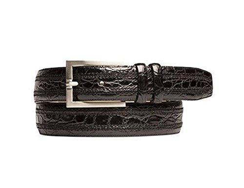 Mezlan Crocodile Belt (Mezlan Men's Black Belt AO9655 (US Men's 38,)