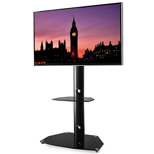 TAVR Swivel Universal Floor TV Stand with Mount Height Adjustable for 27 30 32 37 42 47 50 55 inch LCD LED OLED QLED Flat Panel and Curved Screen TVs ()