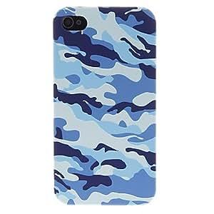 Caso del patrón del camuflaje del azul Volver a la pantalla de HD Película protectora para el iPhone 4/4S