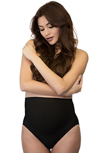 Mabel Maternity Underwear Support Brief Soft Seamless Made in the USA (XLarge, Black)
