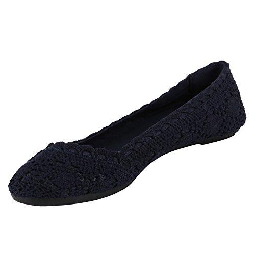 Stiefelparadies Klassische Damen Ballerinas Glitzer Slipper Übergrößen Leder-Optik Schuhe Denim Slip Ons Flats Schlupfschuhe Flandell Dunkelblau Spitze