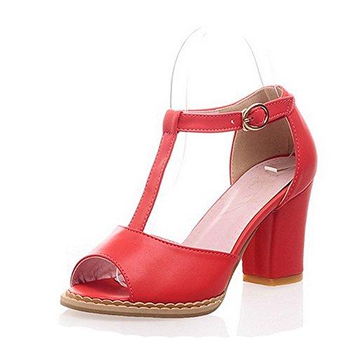 Motif Chaussures Hauts Red Femme Boucle Balamasa Solide Talons Sandales qxFnvOxRwt