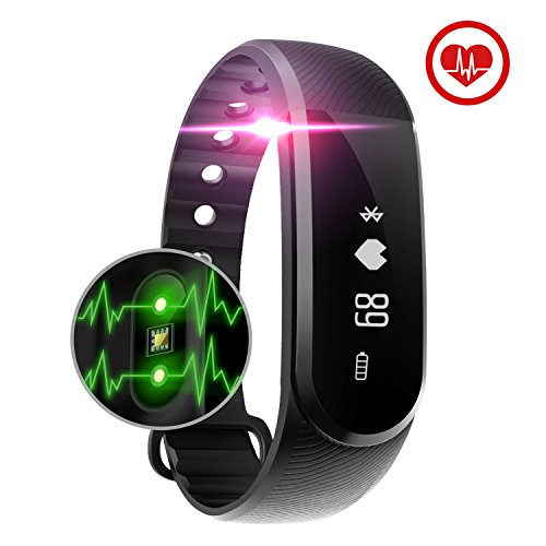 Fitness Tracker Watch Smart Activity Tracker, Baymery Heart Rate Monitor Bracelet Wristband Exercise Workout Step Health Sleep Fitness Band Bluetooth Waterproof for iPhone/Android