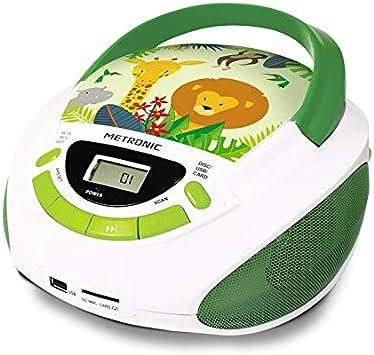 procédés de teinture minutieux 100% qualité garantie moitié prix Metronic 477144 Radio Lecteur CD enfant Jungle avec Port USB/SD/AUX-IN -  Vert et Blanc
