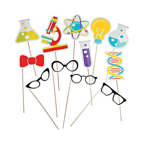 Fun Express - Science Party Photo Stick Props for Birthday - Apparel Accessories - Costume Accessories - Costume Props - Birthday - 12 Pieces -