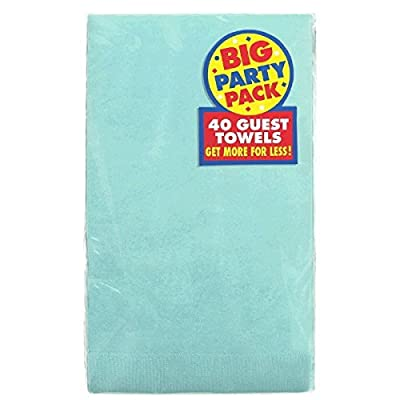 Amscan 63215.121 Big Party Pack 2‑Ply Guest Towels, Paper Napkins, 40 Pieces, Robin's-egg Blue: Kitchen & Dining