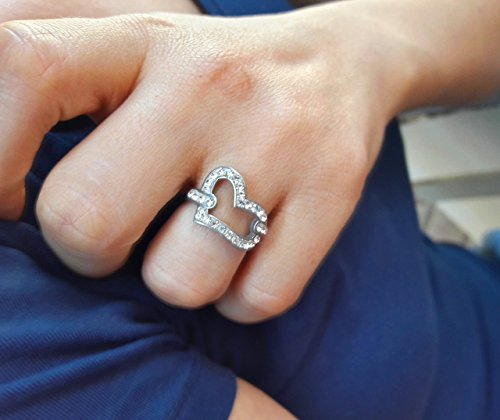[Solid 925 Sterling Silver Womens Teens Swarovski Heart Ring with Cubic Zirconia and Rhodium Coat] (50s Girl Costumes Ideas)