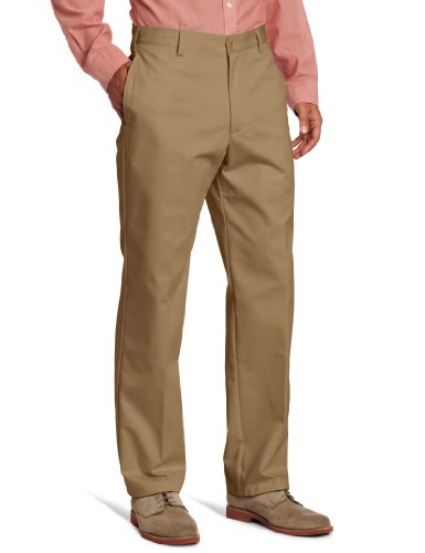 IZOD Men's American Chino Flat Front Pant, English Khaki, 36W x 32L by IZOD