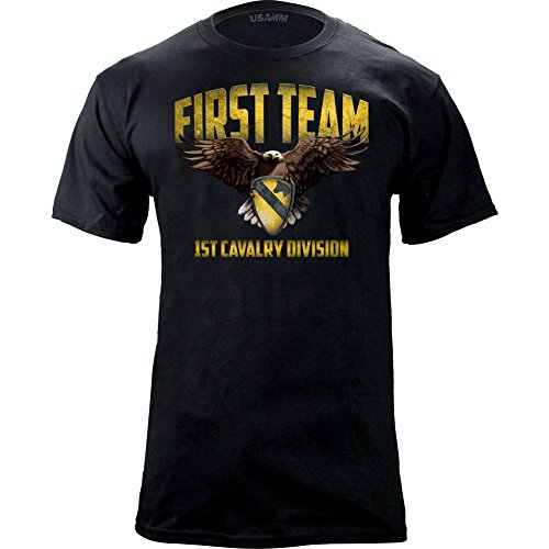 1st Cavalry First Team T-shirt - Original 1st Cavalry First Team Graphic T-shirt (Large, Black)