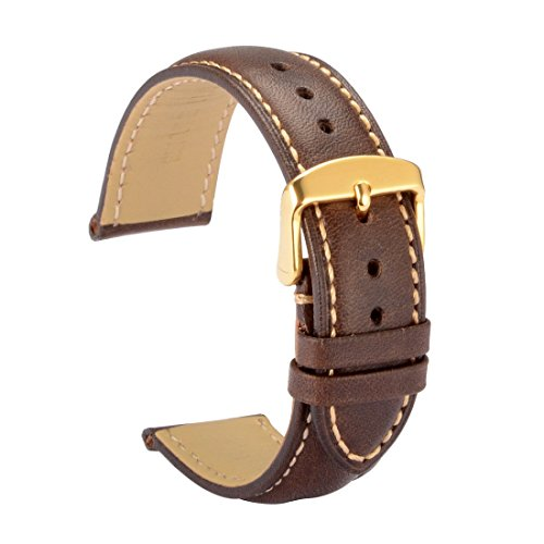 WOCCI 20mm Leather Watch Band,Vintage Watch Strap with Gold Pin Buckle(Dark Brown with Contrasting Seam)