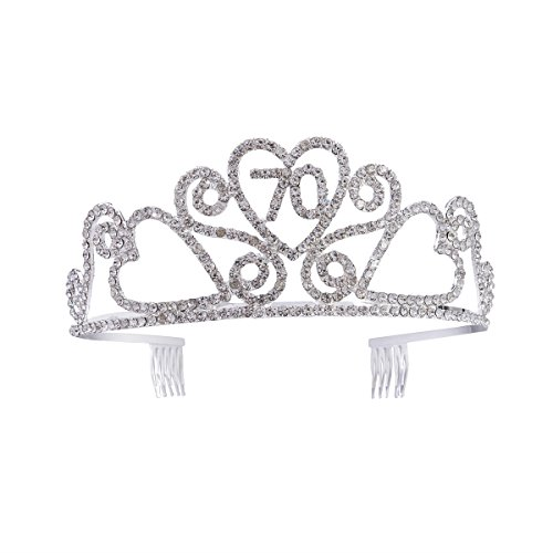 Frcolor Birthday Crowns Rhinestone Birthday Party Tiara with Hair Combs for Mother's 70th Birthday Party by Frcolor