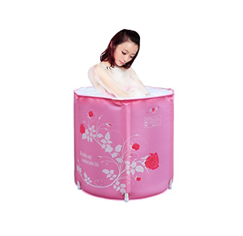 Pink adult bath tub portable folding inflatable bathtub home children inflatable pool bathroom spa by Sun rain