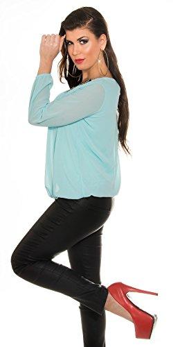 KouCla - Camisas - Túnica - Básico - Manga Larga - para mujer azul turquesa