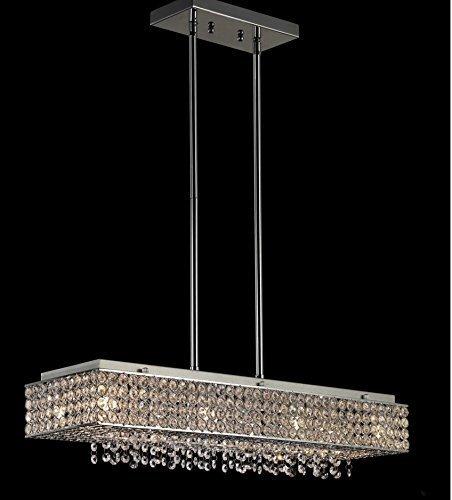 [8 Lights Crystal Linear Chandelier Crystal Pendant Rectangular Bella Vista Lighting Fixture Light 28