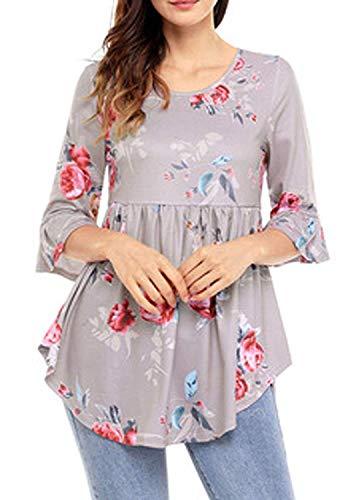 Fiore Donna Grau Libero Irregolare Hipster Ragazza Shirts Tops Tempo T Moda Estivi Blusa Rotondo Elegante Maniche Collo Chic Stampa Vintage Camicetta Tromba r10r7wq