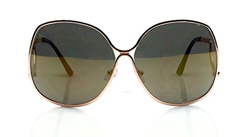 70's Vintage Style Oversized Metal Frame Large Square Lenses Womens Sunglasses (Bronze, Gold - Style 70 Glasses