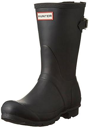 Hunter Women's Original Short Back Adjustable Rain Boot Black 9 B(M) US