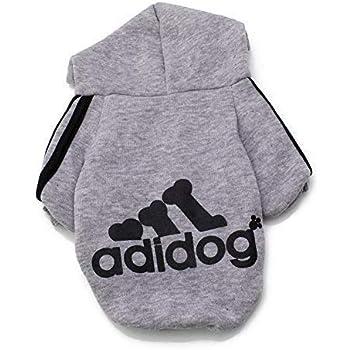 Rdc Pet Fleece Dog Hoodies, Apparel, Adidog Basic Hoodie Sweater, Cotton Jacket Sweat shirt Coat for Small Dog & Medium Dog & Cat (XXL, Grey)