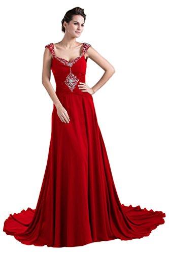 Abito Elegante Sposa Vestito V Cinghie Rosso Fodero Spazzata Di Madre Abito Partito Collo Della Del Avril TEWr7qnT
