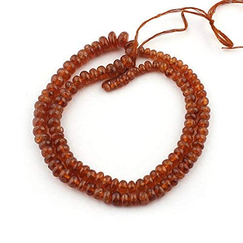 1 Strand Hessonite Smooth Rondelles - Hessonite Roundelles Beads 4mm-9mm 18 Inches by LadoNarayani