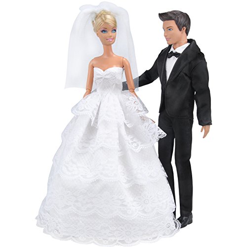 Bride Doll Clothes (E-TING Wedding Pack, Beautiful Gown Bride Dress Clothes with Veil and Groom Formal Outfit Business Suit for Barbie Ken Dolls Gift)
