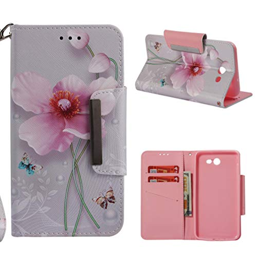Galaxy J7 2017/J720 Case,Durable Lightweight 3D Printing PU Leather Folding Case Flip Inner Soft Bumper Shockproof Wallet Case Magnetic Closure for Samsung Galaxy J7 2017/J720 -butterfly flower