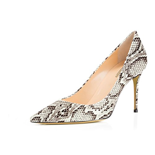 Modemoven Women's White Snake Skin Pointed Toe Pumps Slip-on Office Business High Heels Sexy Stiletto Shoes 10.5 M US by Modemoven