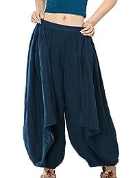 JIQIUGUER Women's Original Cotton Linen Pleated Loose Harem Pants