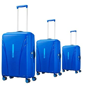 American Tourister Sky Tracer Polycarbonate Blue Trolley Bag with  Wheels(Set of 3)  Amazon.in  Bags db9bf935b