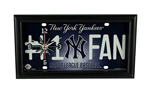 Good Tymes Enterprises, Inc. MLB New York Yankees Number 1 Fan License Plate Mantel or Wall Clock