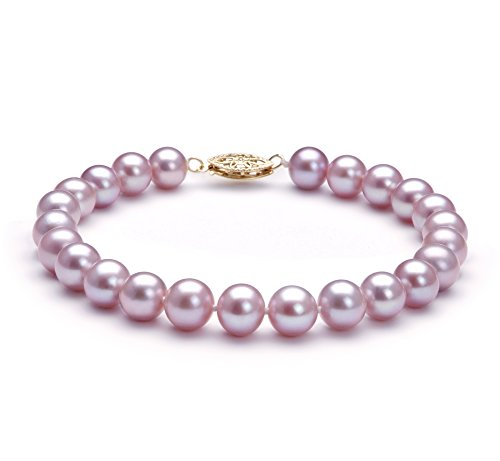 Lavender 7-8mm AA Quality Freshwater Cultured Pearl Bracelet-8 in (7mm Aa Freshwater Pearl Bracelet)
