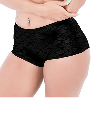 Holly Gibbons Women's Shiny Metallic Mermaid Low waist Mini Shorts (Booty Shorts Sexy)