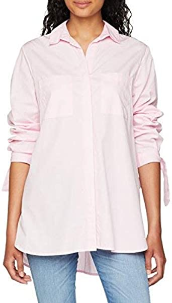 New Look Tie Sleeve Longline Camisa, Rosa (Light Pink 70), 36 ...