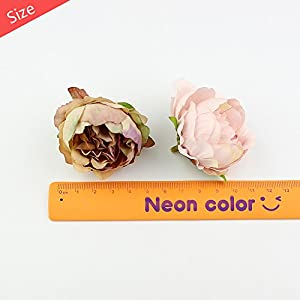 Peony flower Fake Flower Heads for Crafts Bulk Head Silk Artificial Flowers Party Home Decor Wedding Decoration DIY Decorative Wreath Fake Flowers Festival Decor 15 Pieces 5cm (Beige) 4