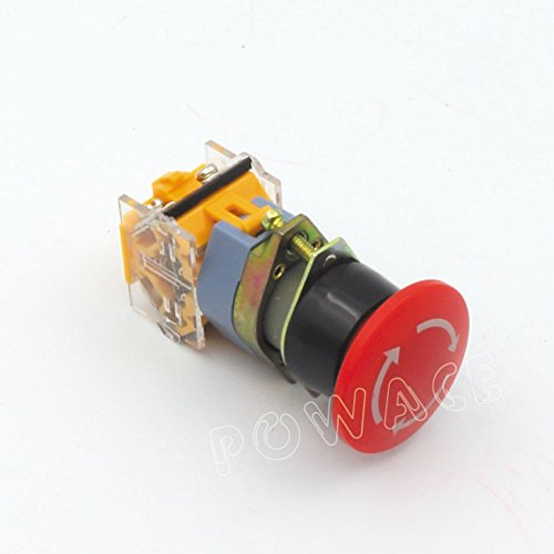 Push Button Switch AC 400V Red Sign E-Stop Emergency Mushroom 22mm NO NC For CNC (Button Push Switch Stop)