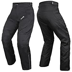 HWK Mens Black Textile Breathable Waterproof CE Armoured Motorbike Overpants Motorcycle Trousers / Pants - 1 year Guarantee Waist30''-32'' Inseam32''