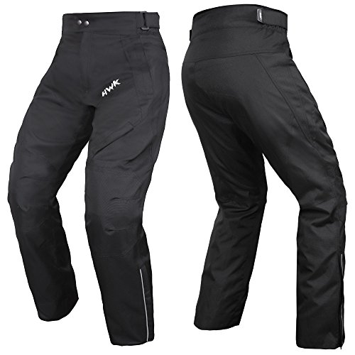 (HWK Mens Black Textile Breathable Waterproof CE Armoured Motorbike Overpants Motorcycle Trousers/Pants - 1 year Guarantee ...)