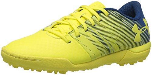 (Under Armour Spotlight Turf Jr. Soccer Shoe, Tokyo Lemon (300)/Moroccan Blue,)