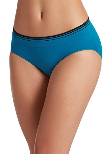 Blue Womens Underwear (Jockey Women's Underwear Seamfree Sporties Stripe Bikini, Peacock Blue, 5)
