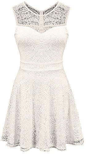 Sylvestidoso Women's A-Line Sleeveless Pleated Little White Cocktail Party Dress Full Lace (M, White)