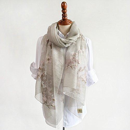 DIDIDD Female Silk Embroidered Scarf Silk Silk Scarf Shawl Scarf Color All-Match Summer Spring and Autumn,Grey by DIDIDD