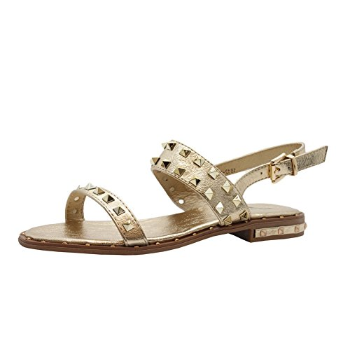 SAUTE STYLES Ladies Womens Flats Strap Party Comfy Open Toe Studded Summer Sandals Shoes Size 3-8 Gold Peep Toe Gladiator OpoPPKs