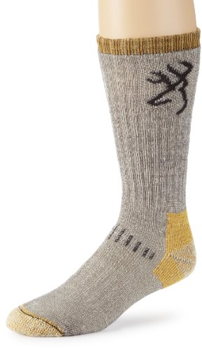 Browning Hosiery Men's Uplander Merino Wool Sock, 2 Pair Pack (Grey/Gold, Medium)