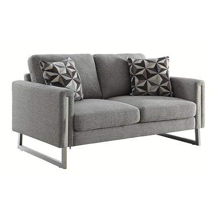 Amazon.com: Loveseat in Grey Flat Weave Upholstery,Bundle ...
