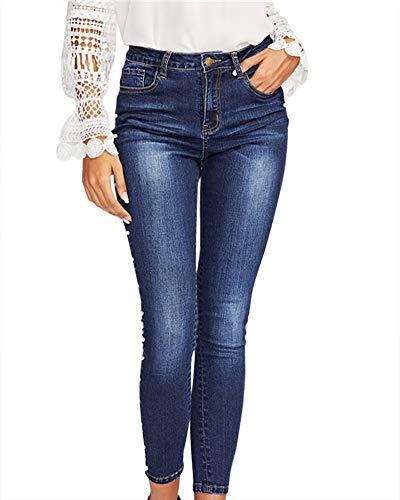 Jeans Pantaloni Larghi Da Blue Alta Vita Blu Donna Denim 0wS0YF7xnr